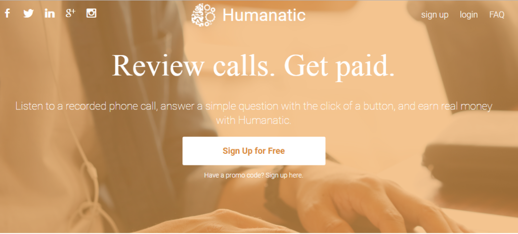Make money online by reviewing phone call in Humanatic