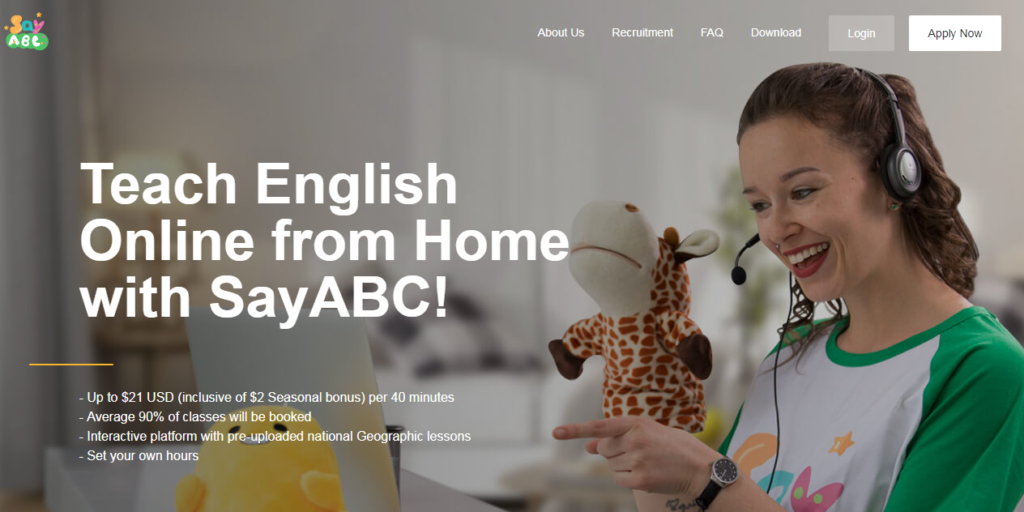 Make money online by teaching english on Sayabc